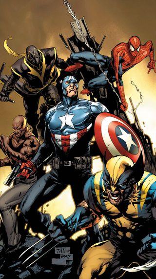 Обои на телефон росомаха, человек паук, новый, мстители, капитан, the new avengers, luke cage, darkdroid