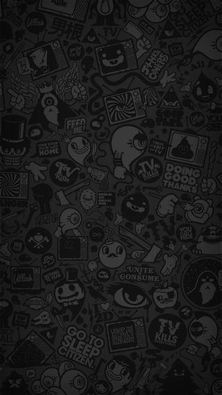 Обои на телефон мультфильмы, черные, темные, простые