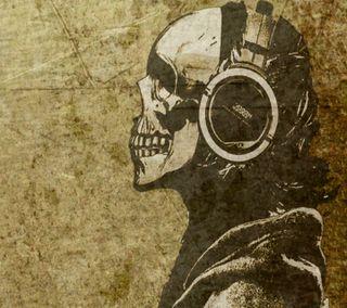 Обои на телефон art, head phones, крутые, новый, арт, череп, музыка, голова, кости