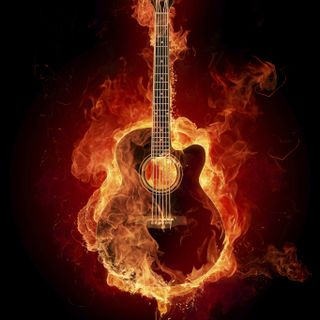 Обои на телефон гитара, огонь, 1226591444925