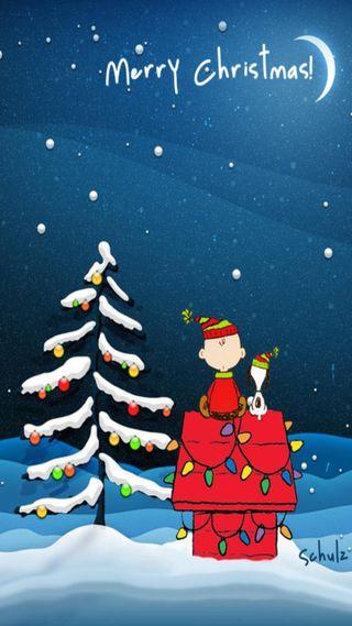 Обои на телефон снупи, снег, рождество, праздник, коричневые, дерево, peanuts