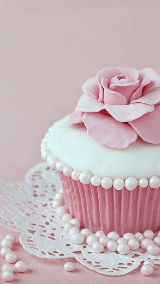Обои на телефон цветы, торт, розовые, кекс, жемчуг, день рождения
