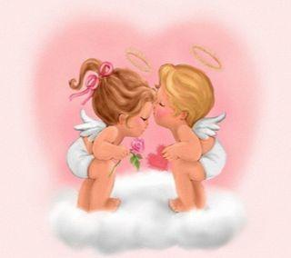 Обои на телефон мальчик, сердце, поцелуй, милые, любовь, девушки, ангелы, love