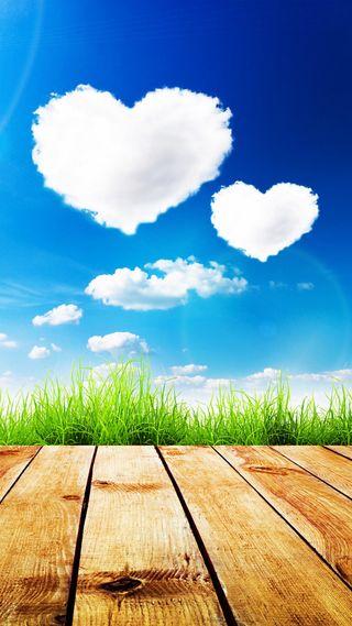 Обои на телефон формы, трава, сердце, облака, небо, дерево