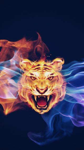 Обои на телефон тигр, огонь