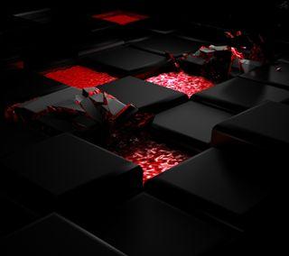Обои на телефон квадратные, черные, треснутые, куб, красые, коробка, 3д, 3d