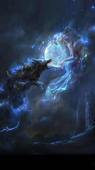 Обои на телефон фантазия, космос, девушки, галактика, волк, galaxy