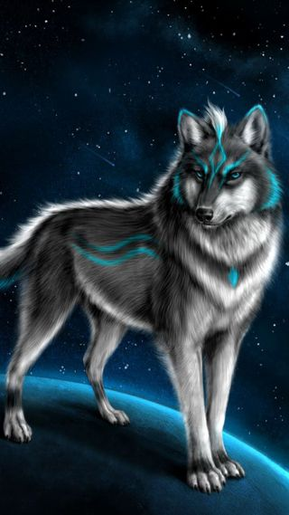 Обои на телефон фантазия, синие, звезды, животные, волк