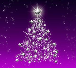 Обои на телефон серебряные, фиолетовые, счастливое, рождество, звезды, дерево, xmas tree by marika, by marika