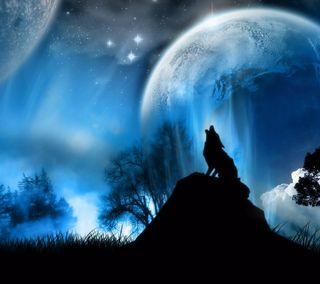Обои на телефон тень, фантазия, ночь, лунный, луна, волк