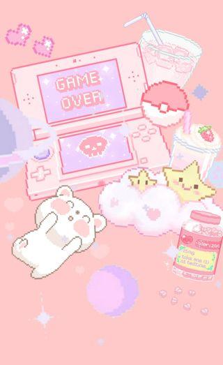Обои на телефон эстетические, пастельные, милые, каваи, игра, pixel, game over