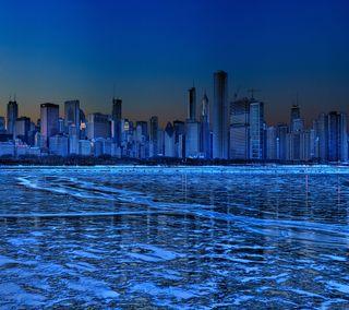 Обои на телефон чикаго, холодное, озеро, лед, город, горизонт, skyline, metropolis freeze, freeze
