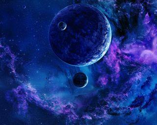 Обои на телефон планеты, синие, пейзаж, облака, луна, космос, земля, галактика, вселенная, galaxy