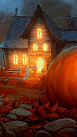 Обои на телефон праздник, хэллоуин, призрак, дом, haunted house, ghost