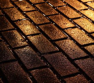 Обои на телефон ночь, мокрые, кирпичи, дорога, brick road