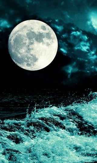 Обои на телефон фон, темные, свет, море, луна, вода, dark moon light sea