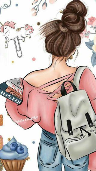 Обои на телефон bookks, bun, school bag, wallpaper girl, anime school, аниме, милые, приятные, девушки, школа, книга, джинсы