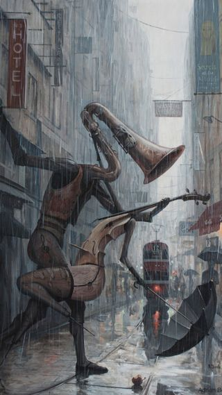 Обои на телефон танец, улица, романтика, музыка, любовь, картина, жизнь, дождь, love, life is a dance, borda, adrian