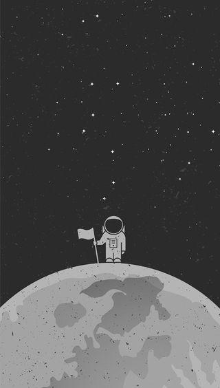 Обои на телефон out there, черные, крутые, темные, космос, флаг, космонавт, монохромные