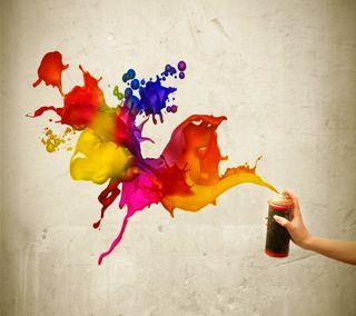 Обои на телефон креативные, стена, рука, рисунки, красочные