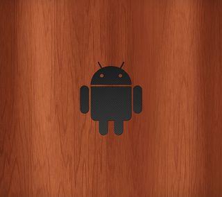 Обои на телефон робот, карбон, логотипы, деревянные, дерево, волокно, андроид, android