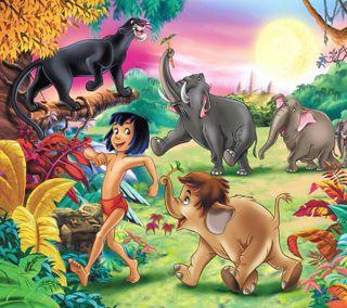 Обои на телефон дети, мультфильмы, книга, животные, джунгли