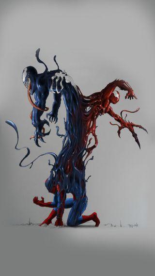 Обои на телефон marvel, дизайн, марвел, человек паук, веном, рисунок, бойня