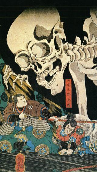 Обои на телефон японские, самурай, смерть, скелет, меч, кость, катана, бой, арт, japanese art