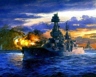Обои на телефон корабли, океан, огонь, картина, война, военно морские, атака