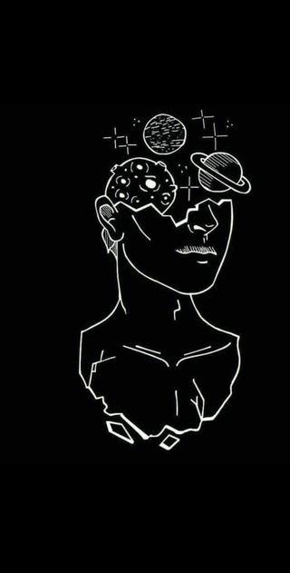 Обои на телефон планеты, черные, разум, мысли, вселенная, белые, ur mind ur universe