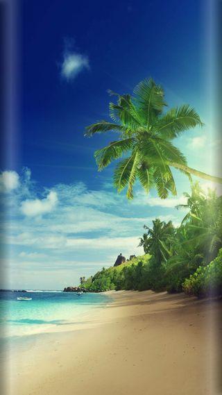 Обои на телефон стиль, песок, солнце, пляж, пальмы, остров, лето, деревья, грани, s7, edge style