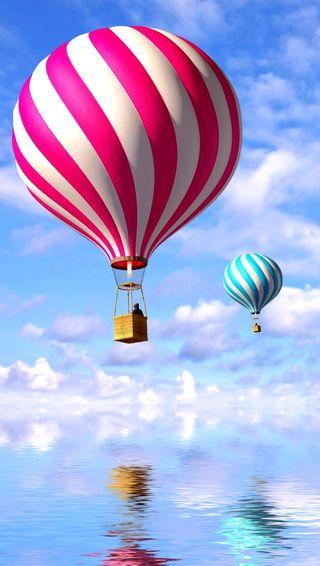 Обои на телефон летать, небо, вода, balon