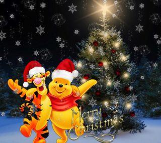 Обои на телефон пух, счастливое, рождество, ночь, винни, winnie pooh, christmas night