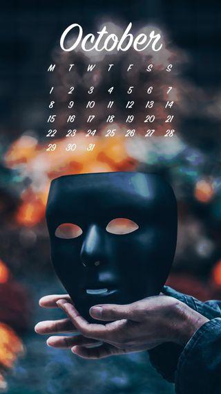 Обои на телефон октябрь, календарь, маска, zedgeoct18, october mask