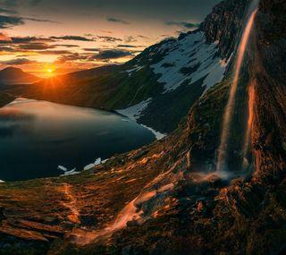 Обои на телефон водопад, природа, классные, закат, sunset hd
