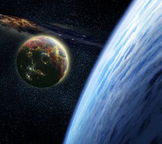 Обои на телефон планета, луна, космос