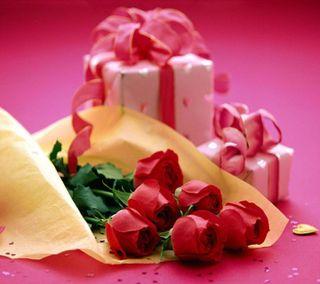 Обои на телефон подарок, ты, счастливые, розы, любовь, красые, день рождения, love