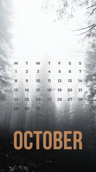 Обои на телефон октябрь, календарь, деревья, zedgeoct18, october trees