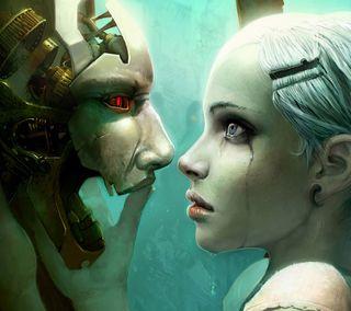 Обои на телефон друг, робот, девушки, robot friend