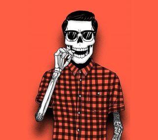 Обои на телефон череп, хипстер, skull hipster