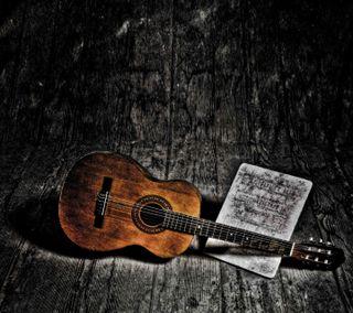 Обои на телефон гитара, темные, старые, песня, ноты, музыка, guitar and song, classical, acoustic