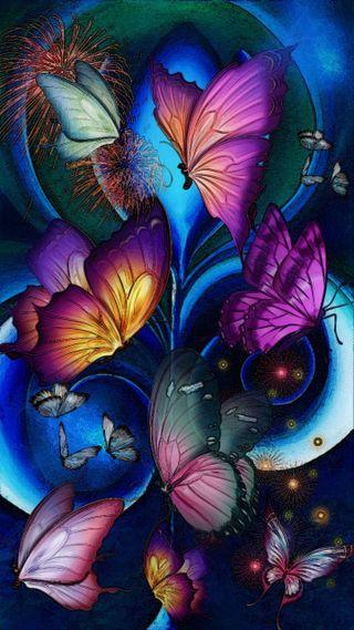 Обои на телефон группа, сад, полет, неоновые, бабочки, butterfly garden