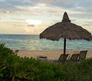 Обои на телефон песок, солнце, пляж, пейзаж, океан, восход, вид