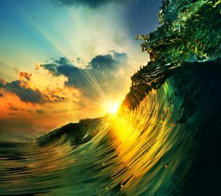 Обои на телефон волна, облака, небо, зеленые, закат, sunset over a wave
