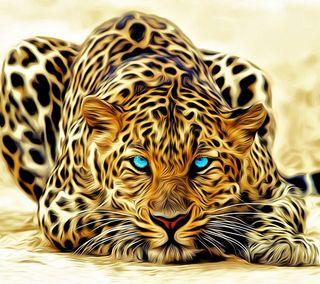 Обои на телефон животные, кошки, фрактал, леопард