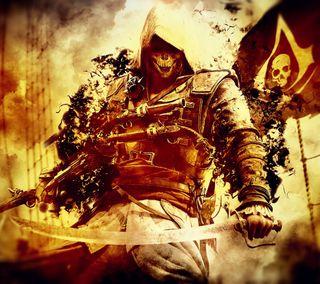 Обои на телефон киллер, черные, череп, флаг, пираты, крид, ассасин, assassins creed 4
