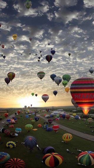 Обои на телефон шары, ок, приятные, небо, крутые, красота, классные, закат, вид