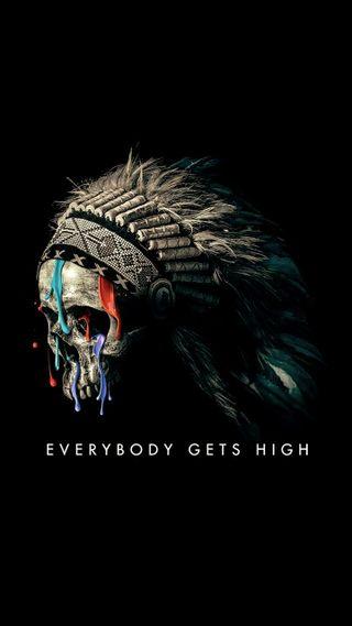 Обои на телефон племенные, черные, череп, рисунки, высокий, navaho, everybody gets high