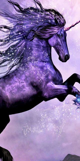 Обои на телефон фантазия, фиолетовые, удивительные, лошадь, единорог