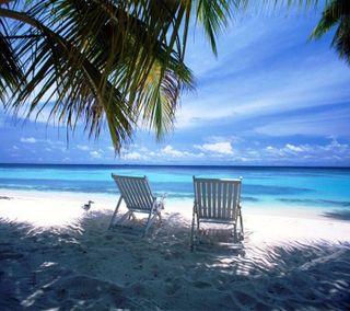 Обои на телефон океан, природа, прекрасные, пляж, песок, пейзаж, chairs, beautiful beach